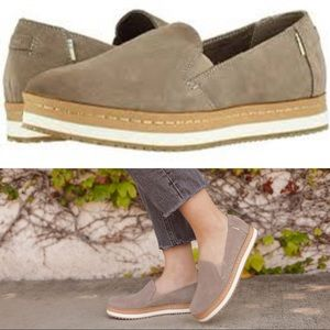 TOMS Taupe Grey Suede Palma Wrap Slip Ons 9.5
